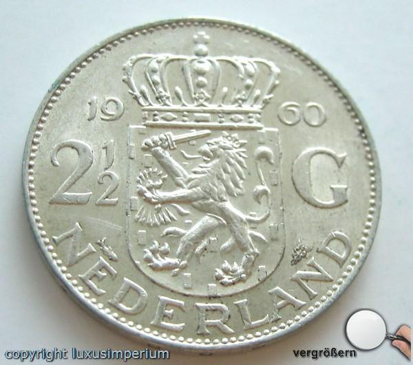 Coin Münze 212 Gulden Juliana Königin Von Niederlande 1960 Silber